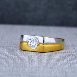 Mens Single Stone Fancy 22ct Gold Ring-MSR17