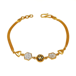 22K Gold Oxidised CZ Diamond Bracelet MGA - BRG0028