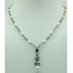 Freshwater White Pearls Silver Chain Necklace JNC0066