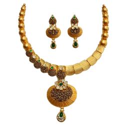 22K Gold Antique Oxidised Modern Necklace Set MGA - GN0097
