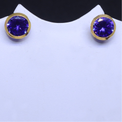 18KT Casual ware Round Purple Colour stone earring for unisex BTG0246