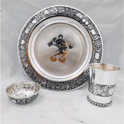 Puran Stylish Baby Dinnet Set in Fruit Carvings (3Pcs Set)