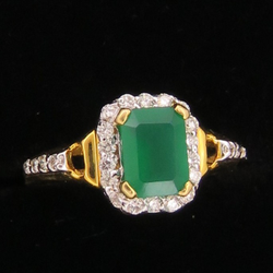 Gold Emerald Stone Ring For Women KJ-R16
