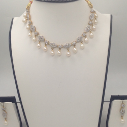 White CZ Stones And Freshwater Tear Drop Pearls Necklace Set JNC0061