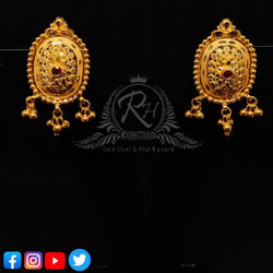 22 carat gold traditional red daimond ladies earrings RH-ER128