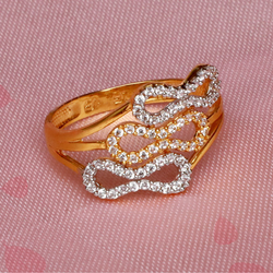 916 Gold CZ Classic ring For Women PJ-R033