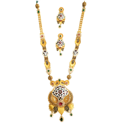 22k gold rajasthani meenakari checkers diamond necklace set mga - gls088