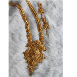 916 Gold Long Necklace Set With Earrings SRN-NS-01