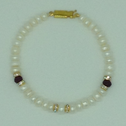 White Flat Pearls And Red Semi With CZ Chakri 1 Layers Bracelet JBG0120