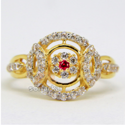 22ct Hallmarked Gold ladies Ring Studded with Cubic Zircon stones