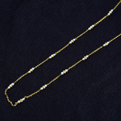 916 Gold Ladies White Moti Mala-AC46