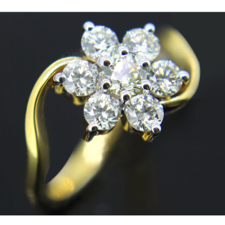 916 Gold Fancy Flower Design Ring For Women GK-R07