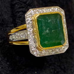 Emerald with Diamond Ring
