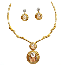 22K Gold Modern CZ Diamond Necklace Set MGA - STG0002