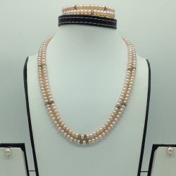 Freshwater Peach Oval 3 Lines Pearls Full Set JPP1044