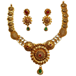 22K Gold Antique Designer Necklace Set MGA - GN0096
