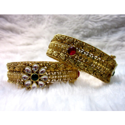 Gold Wedding Special Bridal Broad Antique Jadtar Women Bangles