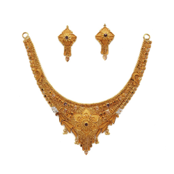 22K Gold Culcutti Necklace with Earrings NSG0065