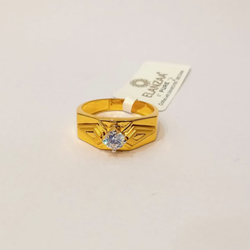 22kt gold cz single stone ring for men gk-r06