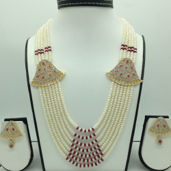 White And Red CZ Brooch Set With 7 Lines Flat Pearls Mala JPS0672