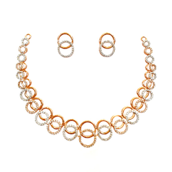 18K Rose Gold Designer Diamond Necklace Set MGA - DN001