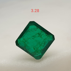 3.28ct square green emerald-panna VG-E07