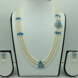 White And BlueCZ BroachSet With 3Lines FlatPearls Mala JPS0560