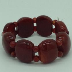 Red Amber StoneElastic BraceletJBG0200