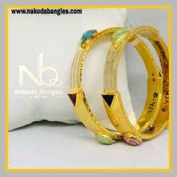 916 Gold Stone Fancy Bangles NB - 538