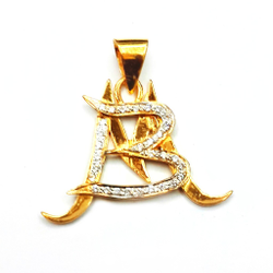 22K Gold CZ Diamond MB Monogram Pendant MGA - MGP013