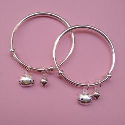 Pure silver baby Kada with Cute kitty charms (1 pair) |puran