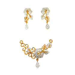 22K Gold Fancy Mangalsutra Pendant With Earrings MGA - PTG0102