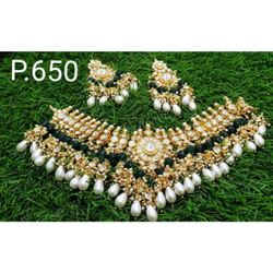 Beautiful V Neck Design Kundan's Necklace Set With Green And White Combination 1088