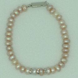 Pink Flat Pearls With CZ Chakri 1 Layers Bracelet JBG0110