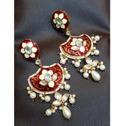 916 Gold Menakari White Pearl Earring VJ-E007