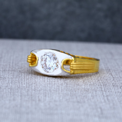 Mens 916 Solitaire Gold Fancy Ring-MSR18