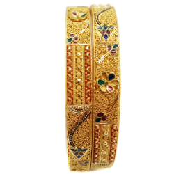 22k Gold multiple Meenakari flower shape Bangles MGA - GP048