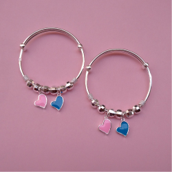 Pure silver baby bangles with Balls and Heart charms (1 pair) |puran