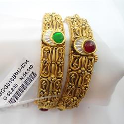 22KT Gold Antique Bangle Kada RHJ-6294