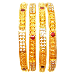 22k Gold Meenakari With CZ Diamond Kada Bangles MGA - GP064