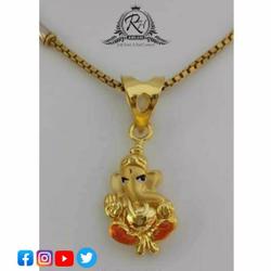 22 Carat Gold Ganesha Pendant Chain RH-PC499