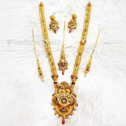 22k Gold Calcutti Full Bridal Wedding Necklace Set