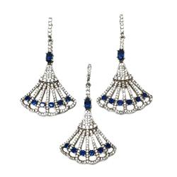 925 Sterling Silver White And Blue Diamond Pendant Set MGA - PTS0014