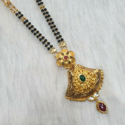 22k Gold Black Beads Indian Mangalsutra