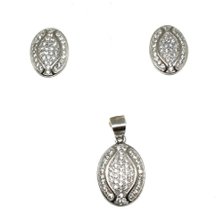 925 Sterling Silver Oval Shaped Pendant Set MGA - PTS0086