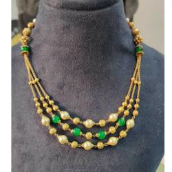 22k Gold Green Beads Mala