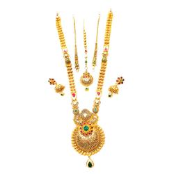 22k Gold Antique Rajwadi Complete Bridal Set MGA - GLS096