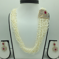 White And Red CZ Broach Set With 22 Lines KC Rice Pearls Mala JPS0664