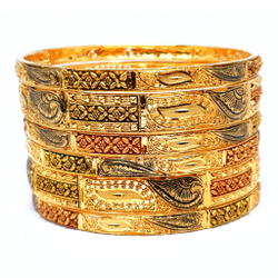 One gram gold forming 6 pieces kada bangles mga - bge0084