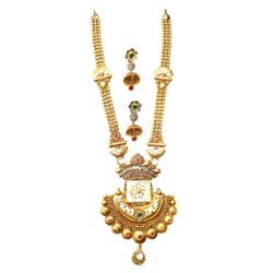 916 Gold Rajputana Style Antique Necklace With Earrings MGA - GLS095